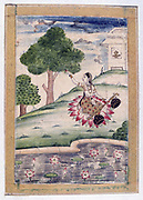 Album of Ragamala. Female musician kneeling on lotus petals seated by a pool with lotus flowers in bloom. 19th century Indian miniature. Rajasthan School with Mughul influence.