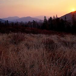 Kancamagus Pass. Late fall. Sunrise over the mountains.  White Mountain N.F., NH