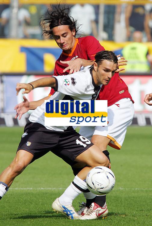 Parma 24/09/2006<br /> Campionato Italiano Serie A 2006/07<br /> Parma-Roma 0-4<br /> Andrea Pisanu Parma contrastato da Alberto Aquilani Roma<br /> Foto Luca Pagliaricci Inside<br /> www.insidefoto.com