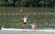 Chungju, South Korea. Men's double Sculls Final:<br /> Gold Medlaist NOR M2X. Nils Jakob HOFF and Kjetil BORCH.<br /> <br /> Silver  medalist, LTU.M2X. Rolandas MASCINSKAS and Saulius RITTER.<br /> <br />  Bronze Medalist ITA. M2X. Francesco FOSSI (b) and Romano BATTISTI (s)<br /> <br /> 4th GER. M4X. Eric KNITTEL and Stephan KRUEGER (s) <br /> <br /> 2013 Rowing Championships, Tangeum Lake, International Regatta Course.  Sunday  01/09/2013 [Mandatory Credit. Peter Spurrier/Intersport Images]