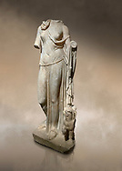 Roman statue of Nemesis. Marble. Perge. 2nd century AD. Inv no; . Antalya Archaeology Museum; Turkey. Against a warm art background. .<br /> <br /> If you prefer to buy from our ALAMY STOCK LIBRARY page at https://www.alamy.com/portfolio/paul-williams-funkystock/greco-roman-sculptures.html . Type -    Antalya     - into LOWER SEARCH WITHIN GALLERY box - Refine search by adding a subject, place, background colour, museum etc.<br /> <br /> Visit our ROMAN WORLD PHOTO COLLECTIONS for more photos to download or buy as wall art prints https://funkystock.photoshelter.com/gallery-collection/The-Romans-Art-Artefacts-Antiquities-Historic-Sites-Pictures-Images/C0000r2uLJJo9_s0