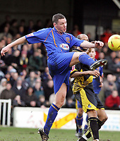 Fotball<br /> England 2004/2005<br /> Foto: SBI/Digitalsport<br /> 01.01.2005<br /> NORWAY ONLY<br /> <br /> Shrewsbury Town v Bristol Rovers<br /> Coca-Cola League Two<br /> Gay Meadow Field, Shrewsbury.<br /> <br /> Shrewsbury's Dave Ridler wins the ball from Lee Thorpe
