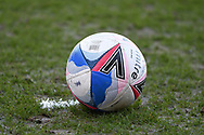 spray surrounds the match ball during the EFL Sky Bet League 1 match between Fleetwood Town and Accrington Stanley at the Highbury Stadium, Fleetwood, England on 27 February 2021.