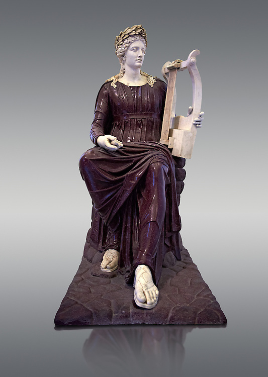 2nd century Roman sculpture of Apollo seated with lyre, sculpted in porphyry, inv no 6281,  The Farnese collection, Naples Archiological Musuem, Italy.<br /> <br /> If you prefer to buy from our ALAMY STOCK LIBRARY page at https://www.alamy.com/portfolio/paul-williams-funkystock/greco-roman-sculptures.html . Type -    Naples    - into LOWER SEARCH WITHIN GALLERY box - Refine search by adding a subject, place, background colour, etc.<br /> <br /> Visit our ROMAN WORLD PHOTO COLLECTIONS for more photos to download or buy as wall art prints https://funkystock.photoshelter.com/gallery-collection/The-Romans-Art-Artefacts-Antiquities-Historic-Sites-Pictures-Images/C0000r2uLJJo9_s0