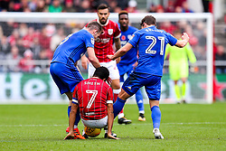 Korey Smith of Bristol City is challenged by Craig Bryson and Joe Ralls of Cardiff City - Rogan/JMP - 04/11/2017 - Ashton Gate Stadium - Bristol, England - Bristol City v Cardiff City - Sky Bet Championship.