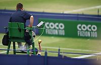 Sponsor branding on Day Six of the Fuzion 100 Surbiton Trophy at the Surbiton Racket & Fitness Club, Surrey, United Kingdom.<br /> Picture by Daniel Hambury/Focus Images Ltd 07813022858<br /> 07/06/2018