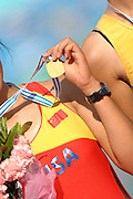 Beijing, CHINA. A Finals, CHN JW2- Bow Yuanyuan HAO, show her gold medal after winning the final with partner, Chaoquin, NI, at  the  2007. FISA Junior World Rowing Championships,  Shunyi Water Sports Complex. 11/08/2007 [Photo, Peter Spurrier/Intersport-images]..... , Rowing Course, Shun Yi Water Complex, Beijing, CHINA,