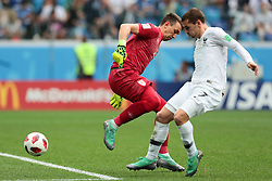 July 6, 2018 - Nizhny Novgorod, U.S. - NIZHNY NOVGOROD, RUSSIA - JULY 06: goalkeeper Fernando Muslera of Uruguay in action with forward Antoine Griezmann of France during the Quarter-Final match between Uruguay and France in the 2018 FIFA World Cup on July 6, 2018, at Nizhny Novgorod Stadium in Nizhny Novgorod, Russia. (Photo by Anatoliy Medved/Icon Sportswire) (Credit Image: © Anatoliy Medved/Icon SMI via ZUMA Press)