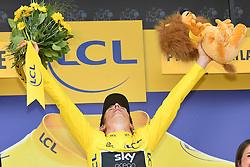 July 28, 2018 - Espelette, FRANCE - British Geraint Thomas of Team Sky celebrates on the podium in the yellow jersey of leader in the overall ranking after the 20th stage of the 105th edition of the Tour de France cycling race, a 31km individual time trial from Saint-Pee-sur-Nivelle to Espelette, France, Saturday 28 July 2018. This year's Tour de France takes place from July 7th to July 29th. BELGA PHOTO DAVID STOCKMAN (Credit Image: © David Stockman/Belga via ZUMA Press)