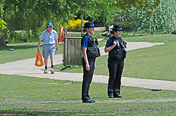 ©Licensed to London News Pictures 07/05/2020  <br /> Tunbridge Wells, UK. Two police officers patrolling the park. The body of a teenage boy has been found this morning in Dunorlan Park in Tunbridge Wells, Kent. Police officers were called at 5.16am with paramedics in attendance the park is now open with police officers remaining in the area. Photo credit:Grant Falvey/LNP
