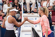 Caroline Wozniacki (Denmark, left) congratulates tournament winner Katerina Siniakova (Czech Republic) at the 2017 WTA Ericsson Open in Båstad, Sweden, July 30, 2017. Photo Credit: Katja Boll/EVENTMEDIA.