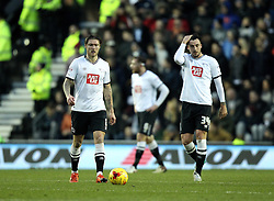 Jeff Hendrick, George Thorne and Richard Keogh of Derby County look frustrated after conceding a goal to Birmingham City - Mandatory byline: Robbie Stephenson/JMP - 16/01/2016 - FOOTBALL - iPro Stadium - Derby, England - Derby County v Birmingham City - Sky Bet Championship