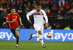 March 23, 2019 - Valencia, Community of Valencia, Spain - Norway's Joshua King seen in action during the Qualifiers - Group B to Euro 2020 football match between Spain and Norway in Valencia, Spain. Spain beat Norway, 2-1 (Credit Image: © Manu Reino/SOPA Images via ZUMA Wire)