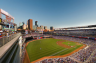 A view from the upper deck at Target Field in downtown Minneapolis, Minnesota on August 26, 2011 where the Minnesota Twins were playing against the Detroit Tigers.