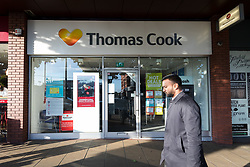 © Licensed to London News Pictures. 23/09/2019. London, UK. A branch of Thomas Cook travel agent in Wimbledon is seen closed this morning. Thomas Cook has collapsed overnight and ceased trading with immediate effect, leaving thousands of customers stranded on holiday. Photo credit: Vickie Flores/LNP
