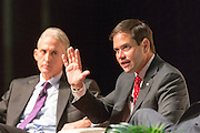 Senator and GOP presidential candidate Marco Rubio is questioned by Rep. Trey Gowdy during Tim's Presidential Town Hall meeting at the Performing Arts Center August 7, 2015 in North Charleston, SC. The event showcases republican candidates in a town hall style meetings hosted by Sen. Tim Scott and Rep. Trey Gowdy.