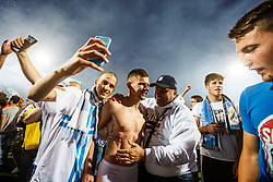 Roman Bezjak #14 of HNK Rijeka with fans during celebration after winning Croatian national soccer league after football match between HNK Rijeka and HNK Cibala in Round #35 of 1st HNL League 2016/17, on May 21st, 2017 in Rujevica stadium, Rijeka, Croatia. Photo by Grega Valancic / Sportida