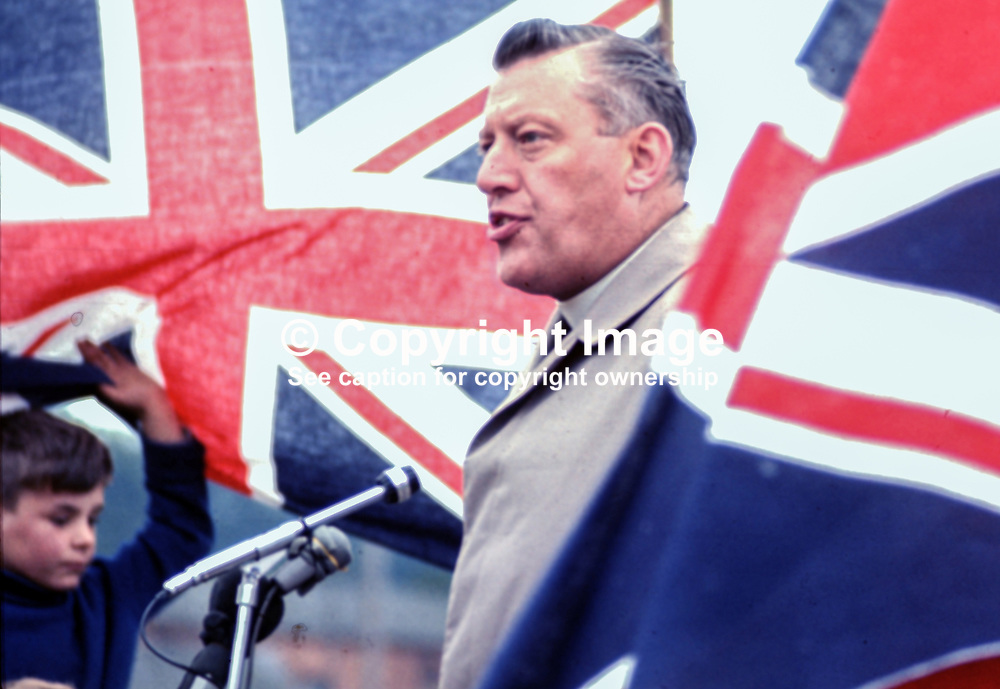 Rev Ian Paisley MP speaking at Independent Orange Order's annual demonstration at Knocknagoney, near Belfast. 1970071110255c, 255/70.<br /> <br /> Copyright Image from Victor Patterson, Belfast, UK<br /> <br /> t: +44 28 9066 1296 (from Rep of Ireland 048 9066 1296)<br /> m: +44 7802 353836<br /> e: victorpattersonbelfast@gmail.com<br /> <br /> www.images4media.com<br /> <br /> Please see my full Terms and Conditions of Use at https://www.images4media.com/p/terms-conditions - it is IMPORTANT that you familiarise yourself with them.<br /> <br /> Images used online incur an additional cost. This cost should be agreed in writing in advance. Online images must be visibly watermarked i.e. © Victor Patterson or that of the named photographer within the body of the image. The original metadata must not be deleted from images used online.<br /> <br /> This image is only available for the use of the download recipient i.e. television station, newspaper, magazine, book publisher, etc, and must not be passed on to a third party. It is also downloaded on condition that each and every usage is notified within 7 days to victorpattersonbelfast@gmail.com.<br /> <br /> The right of Victor Patterson (or the named photographer) to be identified as the author is asserted in accordance with The Copyright Designs And Patents Act (1988). All moral rights are asserted.