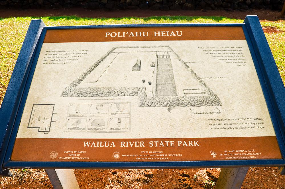 Interpretive sign at Poli'ahu Heiau (temple), Wailua River State Park, Island of Kauai, Hawaii