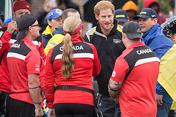 Prince Harry talks with members of the Canadian and Ukrainian teams as he attends the Archery finals of the Invictus Games in Toronto, ON, Canada, on Friday September 29, 2017. Photo by Chris Young/CP/ABACAPRESS.COM