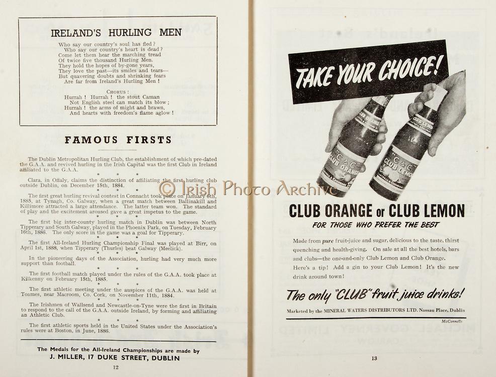 All Ireland Senior Hurling Championship Final,.Programme, .06.09.1953, 09.06.1953, 6th September 1953,.Cork 3-3, Galway 0-8, .Minor Dublin v Tipperary, .Senior Cork v Galway, .Croke Park, 0691953AISHCF,..Songs, Ireland's Hurling Men, ..Articles, Famous Firsts,..Advertisements, Club Orange or Club Lemon Mineral Waters Distributors Ltd,