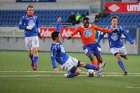 ÅLESUND 20110212. Aalesunds Solomon Okoronkwo (midten) under treningskampen i fotball mellom Aalesund og Hødd på Color Line Stadion i Ålesund lørdag ettermiddag.<br /> Foto: Svein Ove Ekornesvåg