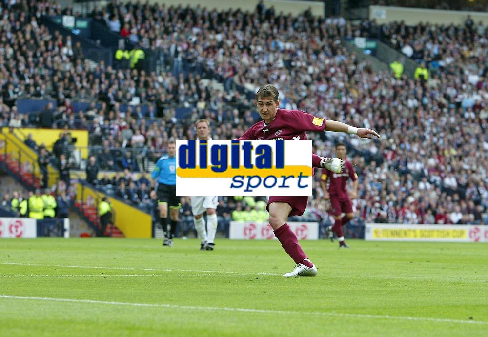 Photo: Andrew Unwin.<br /> Hearts v Gretna. Tennants Scottish Cup Final. 13/05/2006.<br /> Hearts' Rudi Skacel scores his team's first goal.