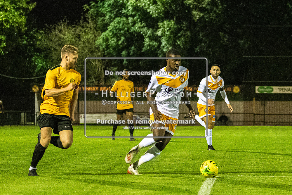 MERSTHAM, UK - OCTOBER 15: Ben Mundelle, of Cray Wanderers FC, during the BetVictor Isthmian Premier League match between Merstham and Cray Wanderers at The Whisky Bible Stadium on October 15, 2019 in Merstham, UK. <br /> (Photo: Jon Hilliger)