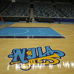 26 September 2008:  The Hornets new NOLA logo is displayed on the court during media day for the New Orleans Hornets at the New Orleans Arena in New Orleans, LA.