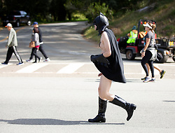 Runners, walkers and the occasional pantless superhero traverse the 7.46-mile course from San Francisco Bay to the Pacific Ocean at the 107th running of the Bay to Breakers, Sunday, May 20, 2018, in San Francisco. (Photo by D. Ross Cameron)
