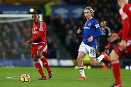 Jerome Sinclair of Watford (l) passes the ball while being chased by Tom Davies of Everton. Premier league match, Everton vs Watford at Goodison Park in Liverpool, Merseyside on Sunday 5th November 2017.<br /> pic by Chris Stading, Andrew Orchard sports photography.