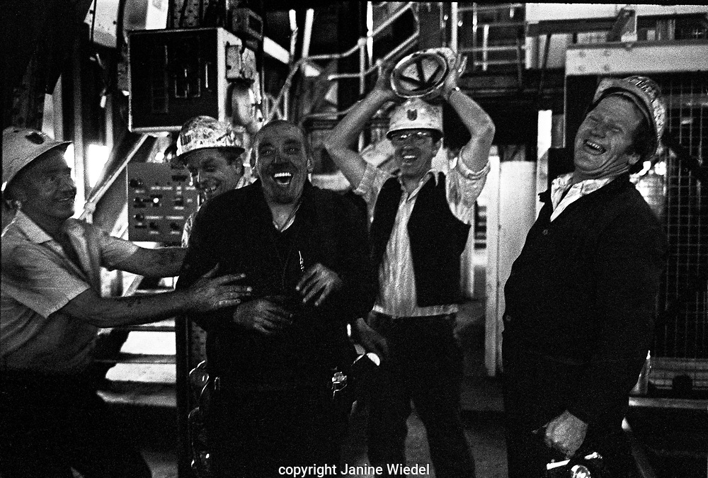 Coal miners messing about waiting to go into the cage at Florence Colliery outside Stoke-on-Trent North Staffordshire, The West Midlands England 1977