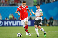 Russia Fedor Smolov (L) and Egypt Tarek Hamed (R) during the 2018 FIFA World Cup Russia, Group A football match between Russia and Egypt on June 19, 2018 at Saint Petersburg Stadium in Saint Petersburg, Russia - Photo Stanley Gontha / Pro Shots / ProSportsImages / DPPI