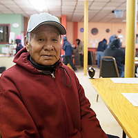 Calvin Hasgood, a 77 year old homeless Vietnam Veteran visits the Hozho Center Thursday morning during their  resource fair in Gallup.