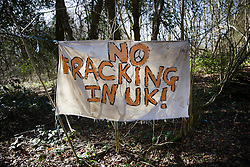 © Licensed to London News Pictures. 02/03/2017. Coldharbour, UK. A sign near the 'Protection Camp' on Leith Hill says 'NO FRACKING IN THE UK!' . Activists have constructed and occupied a fort and some trees on the site of a proposed oil well. Planning permission for 18 weeks of exploratory drilling was granted to Europa Oil and Gas in August 2015 after a four-year planning battle. The camp was set up by protestors in October 2016 in order to draw  attention to plans to drill in this Area of Outstanding Natural Beauty (AONB) in the Surrey Hills. The camp has received support from the local community.  Photo credit: Peter Macdiarmid/LNP