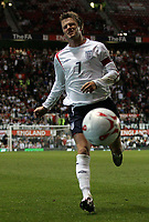 Photo: Paul Thomas.<br /> England v Hungary. International Friendly. 30/05/2006.<br /> <br /> David Beckham of England can't stop the ball from going out.
