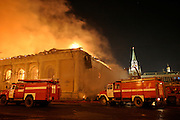 Moscow, Russia, 14.03/2004..Two firemen died fighting a huge blaze which engulfed the Manezh exhibition hall, one of Russia's most historic buildings, located only yards from the Kremlin.