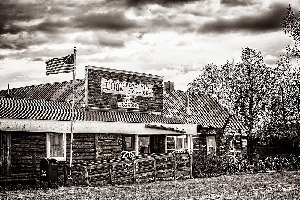 The main structure in the tiny town of Cora, Wyoming - the post office.