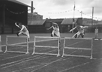 H2603<br /> Aonach Tailteann Athletics. Competitors in a Hurdles Race.1932 (Part of the Independent Newspapers Ireland/NLI Collection)