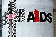 A 1990s poster for the AIDS virus, on 13th June 1990, in Budapest, Hungary. (Photo by Richard Baker / In Pictures via Getty Images)