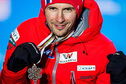 February 22, 2019 - Seefeld In Tirol, AUSTRIA - 190222 Jan Schmid of Norway poses with his silver medal at the medal ceremony for men's nordic combined 10 km Individual Gundersen during the FIS Nordic World Ski Championships on February 22, 2019 in Seefeld in Tirol..Photo: Vegard Wivestad GrÂ¿tt / BILDBYRN / kod VG / 170289 (Credit Image: © Vegard Wivestad Gr¯Tt/Bildbyran via ZUMA Press)
