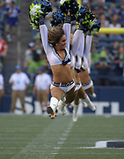 Aug 25, 2017; Seattle, WA, USA; Seattle Seahawks sea gals cheerleaders perform during a NFL football game against the Kansas City Chiefs  at CenturyLink Field.