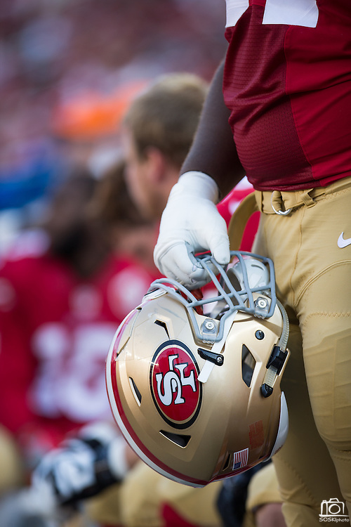 Detail of a San Francisco 49ers helmet photographed during a preseason game against the Houston Texans at Levi's Stadium in Santa Clara, Calif., on August 14, 2016. (Stan Olszewski/Special to S.F. Examiner)