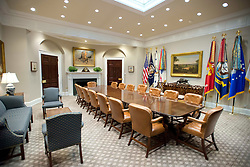 Very high resolution view of the newly renovated interior of the Roosevelt Room in the White House in Washington, DC, USA, on Tuesday, August 22, 2017. Photo by Ron Sachs/CNP/ABACAPRESS.COM