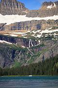 Tour boat on Lake Josephine, Glacier National Park, Montana.