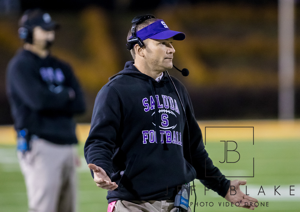 Saluda Tigers head coach Stewart Young disputes a call against the Barnwell Warhorses in the Class AA State Championship game. 2019 Saluda State Championship Football Photos