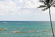 Duke Kahanamoku Long Distance Canoe Race start, Kailua Bay, Oahu, Hawaii