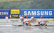 Chungju, South Korea. GBR LM2X.  Lightweight Men's Double Sculls. Bow, Richard CHAMBERS and Peter CHAMBERS. Finish area.  2013 World Rowing Championships, Tangeum Lake, International Regatta Course. 10:52:19  Thursday  29/08/2013 [Mandatory Credit. Peter Spurrier/Intersport Images]