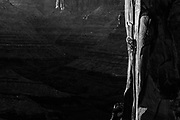 Pamela Shant Pack on teh 2nd ascent of Head Stack 5.12 in Longs Canyon, Moab, UTah