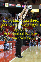 02 January 2013:  Tom Eades calls a three point shot during an NCAA Missouri Vally Conference (MVC) mens basketball game between the Creighton University Bluejays and the Illinois State Redbirds in Redbird Arena, Normal IL